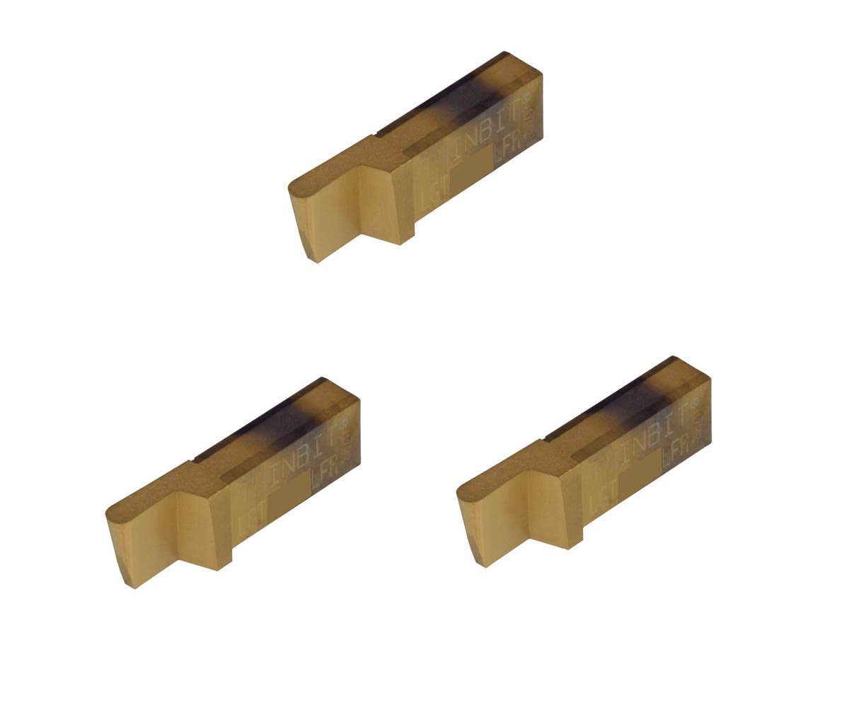 3 Pack LGT080D2LCR007C.080 Width.200 Depth, TiN Coated Carbide, Corner Radius .007'', THINBIT Grooving Insert for Steel, cast Iron and Stainless Steel with Interrupted cuts by GROOVE 'N TURN
