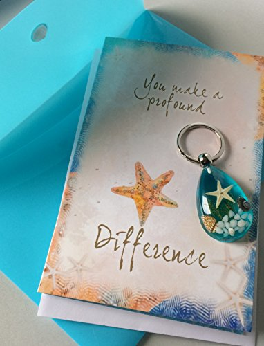 Greeting Card Gift Set - Smiling Wisdom - Blue Real Starfish Key Chain - You Make a Profound Difference Greeting Card Gift Set - Thank You, Thanks, Appreciation for Man, Woman, Teacher, Volunteer, Care Giver - Blue Silver