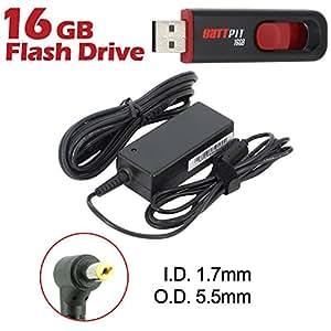 Battpit Cargador Adaptador de repuesto para portátiles Acer Aspire One D260-2207 con cable alimentación Con memoria USB de 16GB GRATUITA