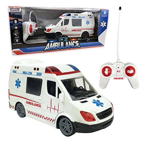 Liberty Imports Large RC Remote Control Rescue Ambulance Toy Emergency Vehicle with Opening Doors, Siren and LED Lights
