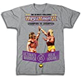 WWE World Wrestling Entertainment WrestleMania 6 Ultimate Warrior VS Hulk Hogan Heather Gray T-Shirt (Adult XXX-Large)
