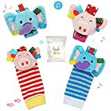 UiiQ 4 Packs Infant Baby Wrist Rattle & Foot Finder Socks Set, Wonderful Developmental Toys Set for Gift with Adorable Smiling Animals patterns - ( Elephant & Pig )