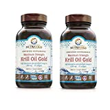Nutrigold Certified Sustainable Maximum Strength Krill Oil Gold High Absorption Phospholipid Omega-3s 1000 Miligrams (60 Softgels) Pack of 2
