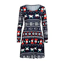Sunny Fashion Girls Dress, COOL99 Womens Santa Christmas Printing Swing Dress Round Neck Long Sleeve Dress (Blue, X-Large)