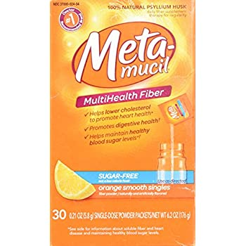 Metamucil Fiber Singles Smooth Texture Sugar Free Orange -- 30 Packets