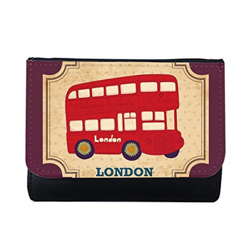 UK London Double-decker Bus Stamp Multi-Function Faux Leather Wallet Card Purse Gift