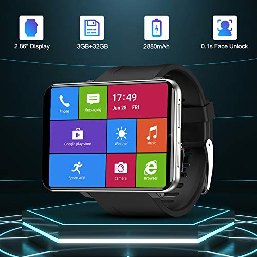 "TICWRIS Andriod Smart Watch, GPS Android Smartwatch, 4G LTE with 2.86"" Touch Screen, Face Unclok Phone Watch with 2880mAh Battery, IP67 Waterproof,3GB+32GB Andriod Watch for Men(Silver)"