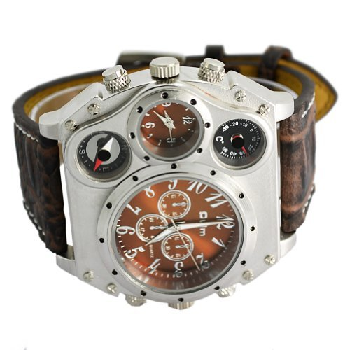 - Oulm Compass Outdoor Sports Watches Analog Dark Brown Leather Strap Four Sub-dials Men Watch