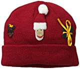 Kidorable Red Christmas Soft Acrylic Knit Hat w/Fun Santa Reindeer and Present One Size Fits Most