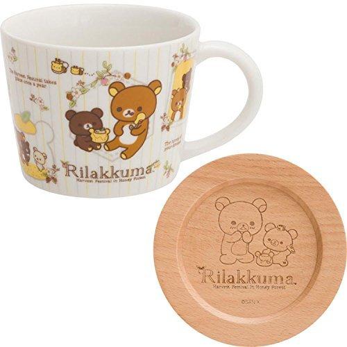 - San-X Rilakkuma Ceramic Mug Cup with Wood Coaster/White TK05001