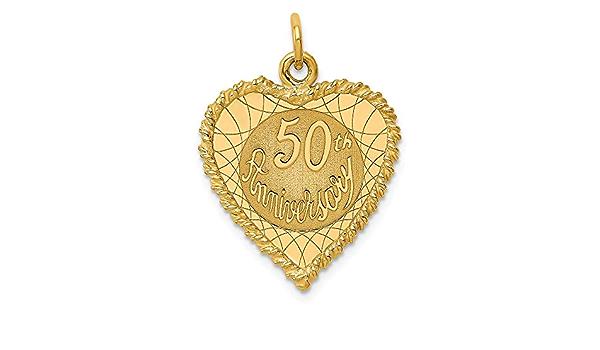 14K 50Th anniversaire charme pendentif or jaune