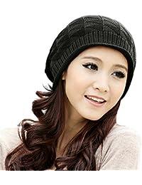 Stylish Unisex Brown Woven Knit Crochet Plicated Baggy Slouch Warm Winter Hat Cap Beret Beanie