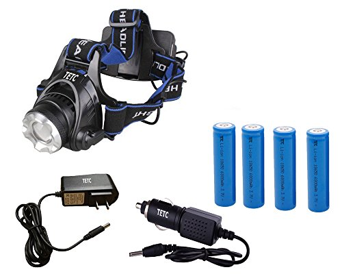 TETC 1800LM CREE XM-L T6 U2 LED Waterproof 3 Modes Design Zoomable Rotating Headlamp CREE LED Headlight+ 4 X 6800 mAh 18650 Rechargeable Battery + Direct Charger + Car Charger