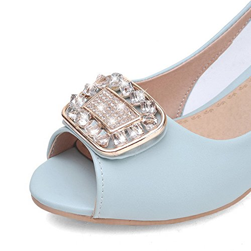 Sandals Heels Kitten AllhqFashion Blue Peep Pull Toe Solid PU on Women's xFPFawzq8