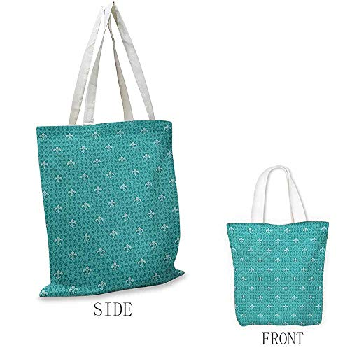 Fleur De Lis Shopping bags can be reused Monochrome Medieval Motifs Pattern French Royal Lily Victorian Used as a grocery bag in the market W15.75 x L17.71 Inch Turquoise and Pale Blue
