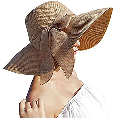 (Womens Big Bowknot Straw Hat Floppy Foldable Roll up Beach Cap Sun Hat UPF 50+ Khaki)