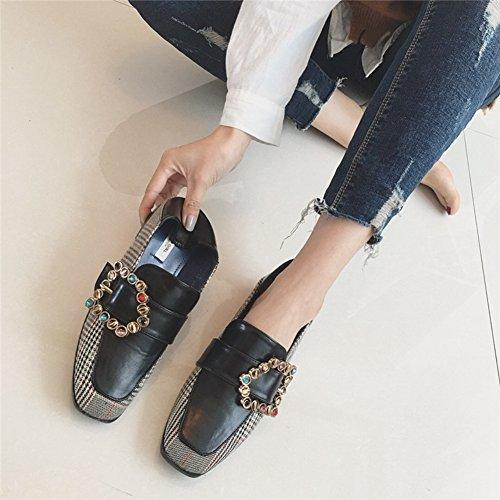 Cybling Zapatos Planos De Mujer Caminando De Punta Cuadrada Suave Suela Hebilla Lateral Para Estudiante Negro