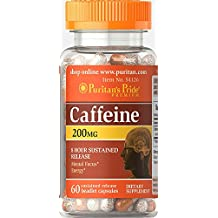 Puritan's Pride Caffeine 200 mg 8-Hour Sustained Release-60 Capsules