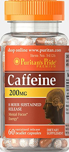 Puritan's Pride Caffeine 200 mg 8-Hour Sustained Release-60 Capsules