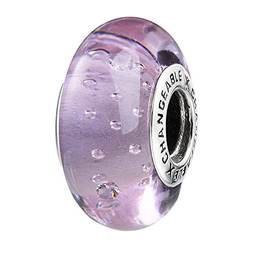Murano Glass Charms Beads for Bracelets, Rosaline Pink, 925 Sterling Silver (Bubbles)