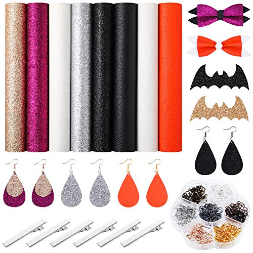 Halloween Hair Bow Diy (8 Pieces A4 Halloween Faux Leather Sheets with 70 Pairs Earring Hooks, 70 Pairs Jump Earrings and 6 Pieces Hair Clips for Halloween Theme Earrings and Hair Bows DIY)