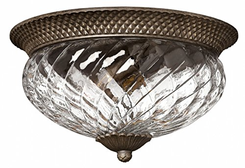 Hinkley 4881PZ Traditional Three Light Flush Mount from Plantation collection in Bronze/Darkfinish,