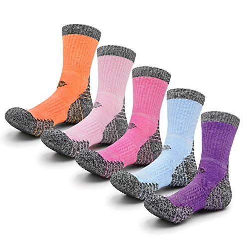 Petrala Hiking Socks Women Moisture Wicking Crew Full Cushion Soft Cotton Pink, 5 Pack