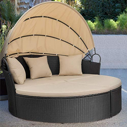patio, lawn, garden, patio furniture, accessories, patio seating,  sofas 5 picture Homall Patio Furniture Outdoor Daybed with Retractable Canopy promotion
