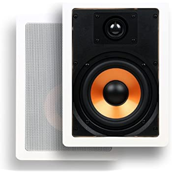 """Micca M-6S 6.5 Inch 2-Way In-Wall Speaker with Pivoting 1"""" Silk Dome Tweeter (Each, White)"""