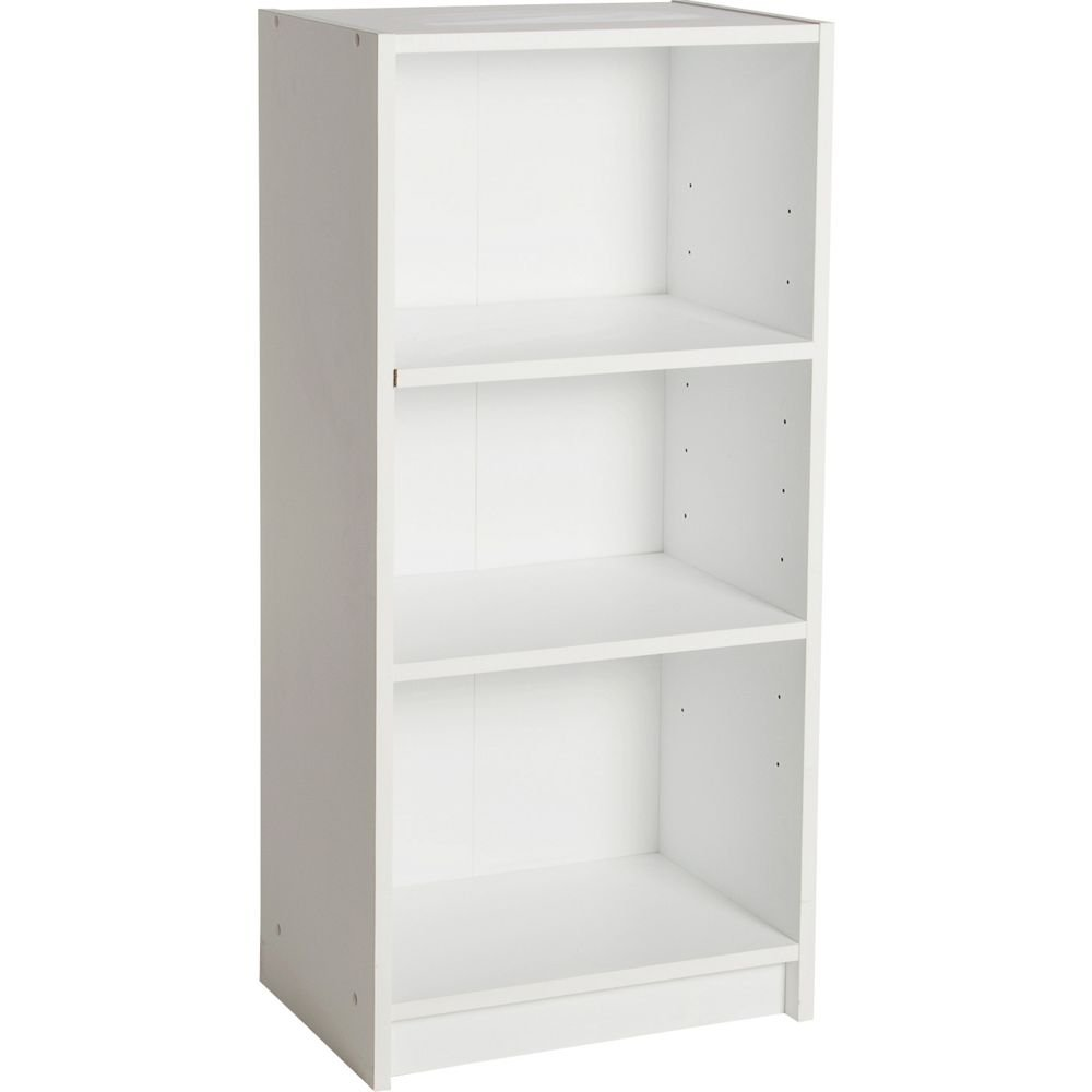 HOME Maine 2 Shelf Half Width Extra Deep Bookcase - White manufacturer