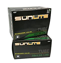 2 Pack Saver - Tube, 20 X 1.50 - 1.95 Schrader Valve, 32mm Schrader Valve. Sunlite Bicycles. Bmx, Kids, Child Or Youth Bike. Any Bike With Same Tire Dimensions.