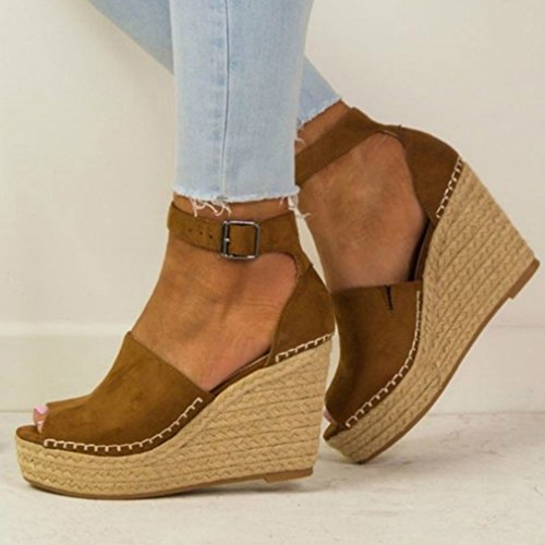 Sandals Casual Women Shoes Heels Fish Shoes junkai Brown Beach Mouth High xXq87P4