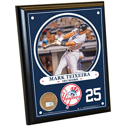 MLB New York Yankees Mark Teixeira Plaque with Game Used Dirt from Yankee Stadium, 8