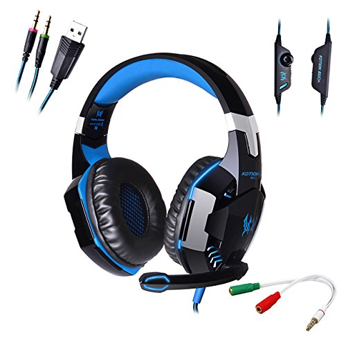 AFUNTA G2000 Stereo Gaming Headset Compatible PS4 PC with Mic,Bass Over-ear Headphones with Volume Control and LED Lights for Laptop Computer Smartphones-Blue