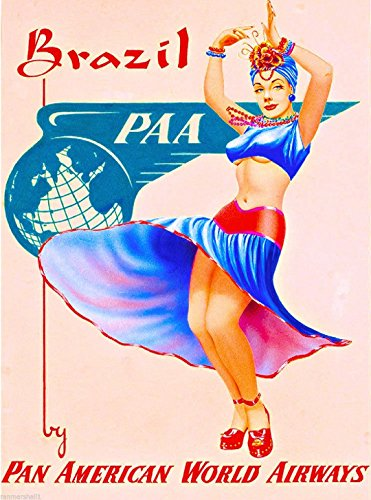 - MAGNET Brazil by Airplane South America American Vintage Travel Advertisement Magnet