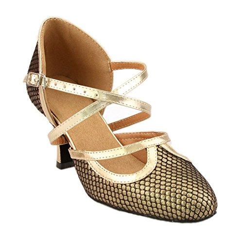 Minitoo LY133 Womens High Heel Brown PU Leather Salsa Tango Ballroom Latin Party Dance Pumps 10 M US