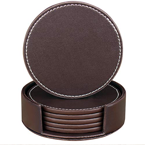 Drink coasters, Set of 6 Round Leather Coasters with Holder Protect Your Furniture (brown, Round) - Round Marble Top