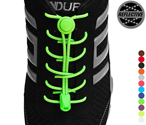 StoutGears Reflective No Tie Shoelaces Lock System - Elastic Shoe Laces for Sneakers - 1 Pair (Neon (1 Kids Orange White Sneakers)