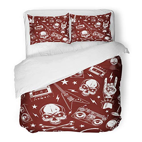 Bone Guitars Red (Emvency Decor Duvet Cover Set Twin Size Red Band Grunge with Skulls Black Bone Death Drawing Evil Graphic Guitar 3 Piece Brushed Microfiber Fabric Print Bedding Set Cover)
