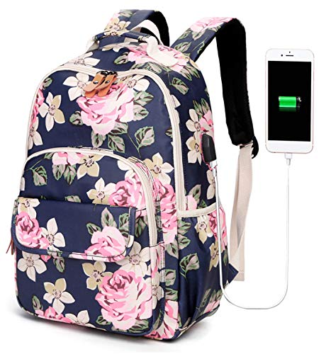 Flower School Backpack Girls Bookbag College Laptop Backpack with USB Charging Port Teens Womens Travel Rucksack for Middle School Womens (Navy-Floral 6058)