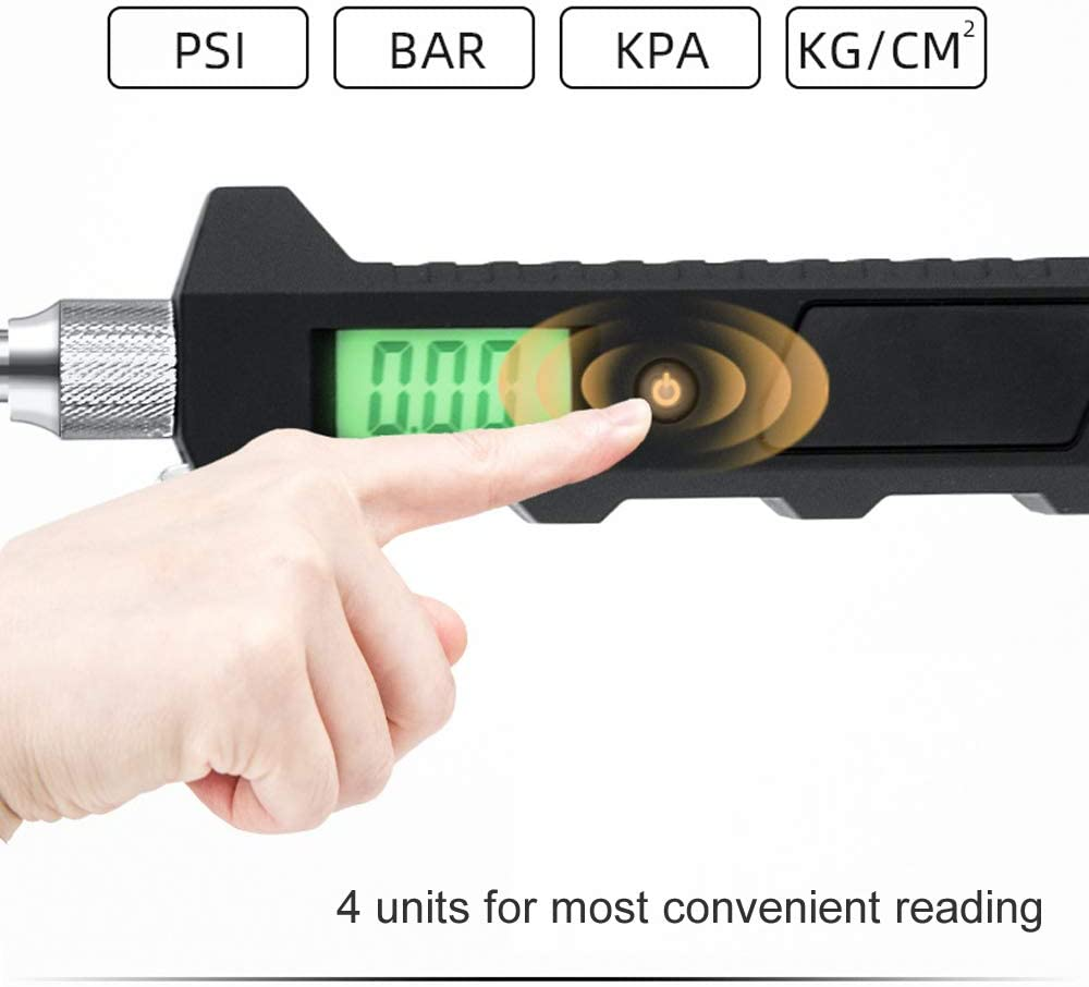 Nieboa Fast LCD Reading Digital Tire Pressure Gauge Dual Head Stainless Steel RV and Truck Accessories with 230PSI Measurement Range