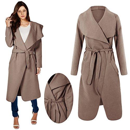 Amberclothing Pour Manteau Avec Moka Cape Marron Ceinture Sans Femme Manches Style Long AIrSq5xA