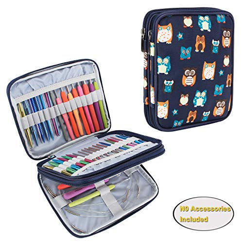 Teamoy Organizer Case for Interchangeable Circular Knitting Needles, Crochet Hooks and Knitting Accessories, Keep All in One Place and Easy to Carry, Owls (No Accessories Included)
