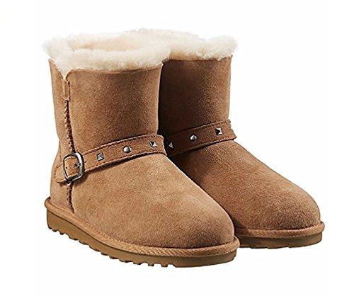 Kirkland Signature Kids Genuine Sheepskin Shearling Snow Boots, Chestnut Brown, 4 ()