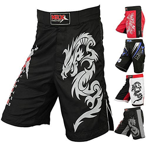 Ufc Cage Fighter - MRX Mens MMA Fight Shorts UFC Cage BJJ Fighting Sports Trunk Active Boxing Kickboxing Muay Thai Grappling (Black - Medium)