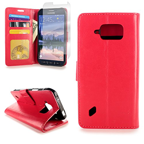 CoverON for Samsung Galaxy S6 Active Wallet Case [Executive Series] Synthetic Leather Flip Credit Card Phone Cover (Red) Pouch w/Screen Protector