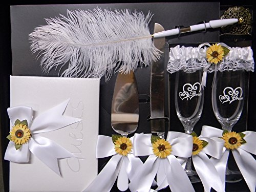 Wedding Reception Sunflower guest book Pen Cake Knife 8 psc