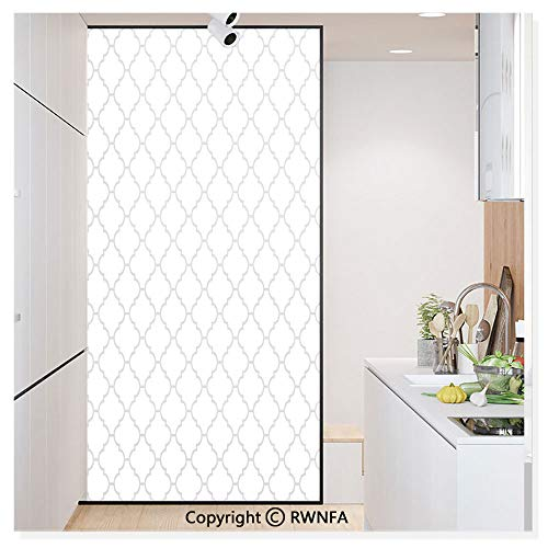 RWN Film Window Films Privacy Glass Sticker Simple Monochrome Patterns Geometric Linked Forms on Plain Background Modern Figures Print Static Decorative Heat Control Anti UV 30In by 59.8In,White Gray