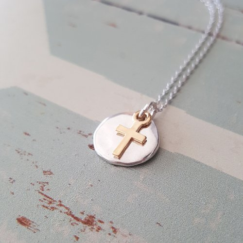Sterling Silver Disc Necklace with Cross Charm,Hammered Circle Necklace