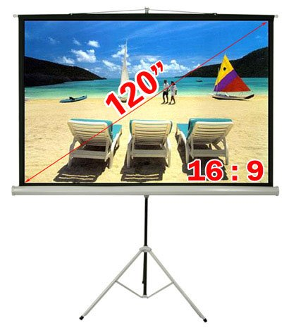 Antra 120 16:9 Tripod Portable Projector Projection Screen Matte White PST-120A